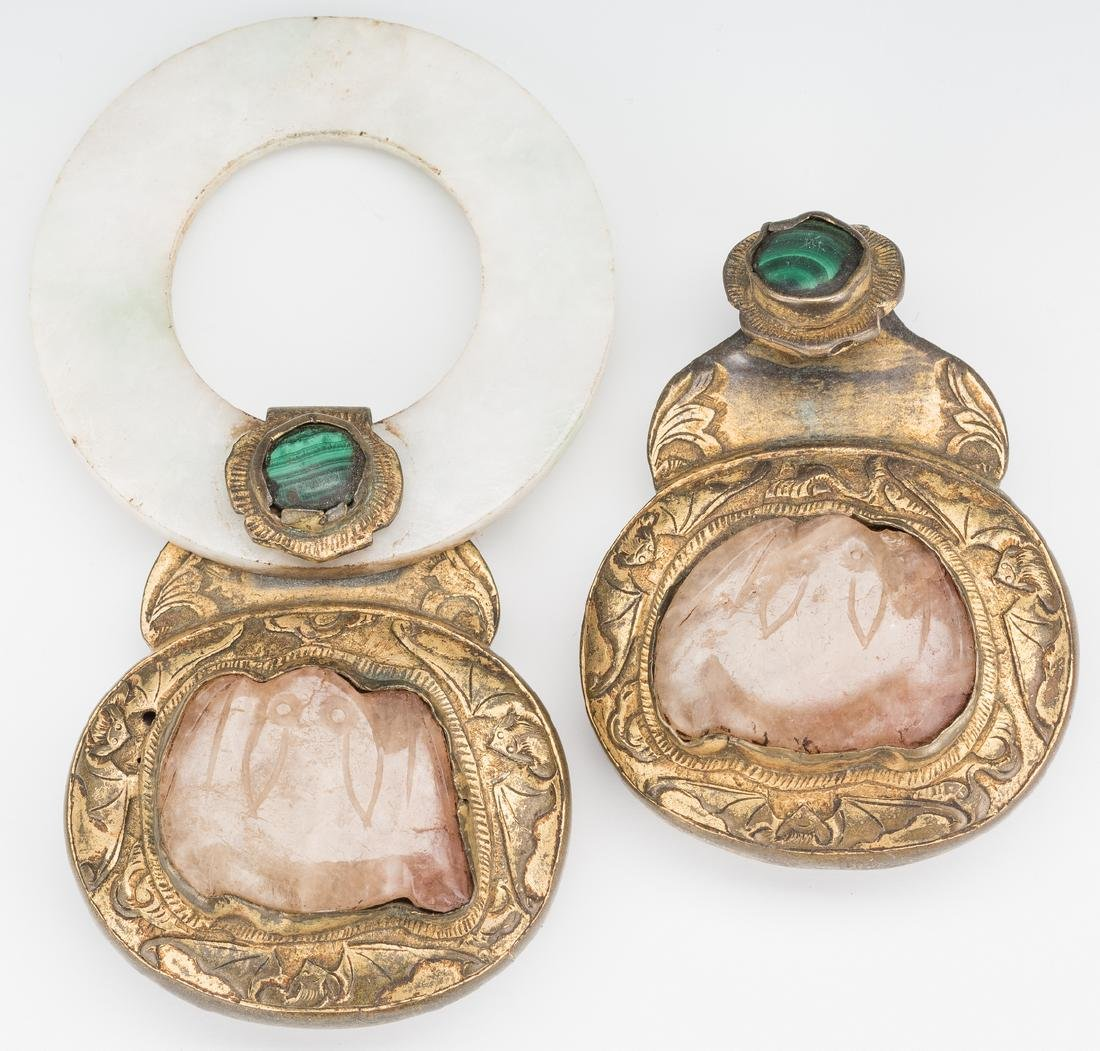 2 Chinese Jade, Stone & Gilt Bronze Belt Buckles - 7