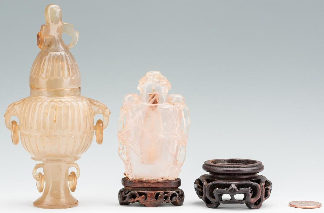 2 Carved Chinese Quartz Items, Urn & Bottle