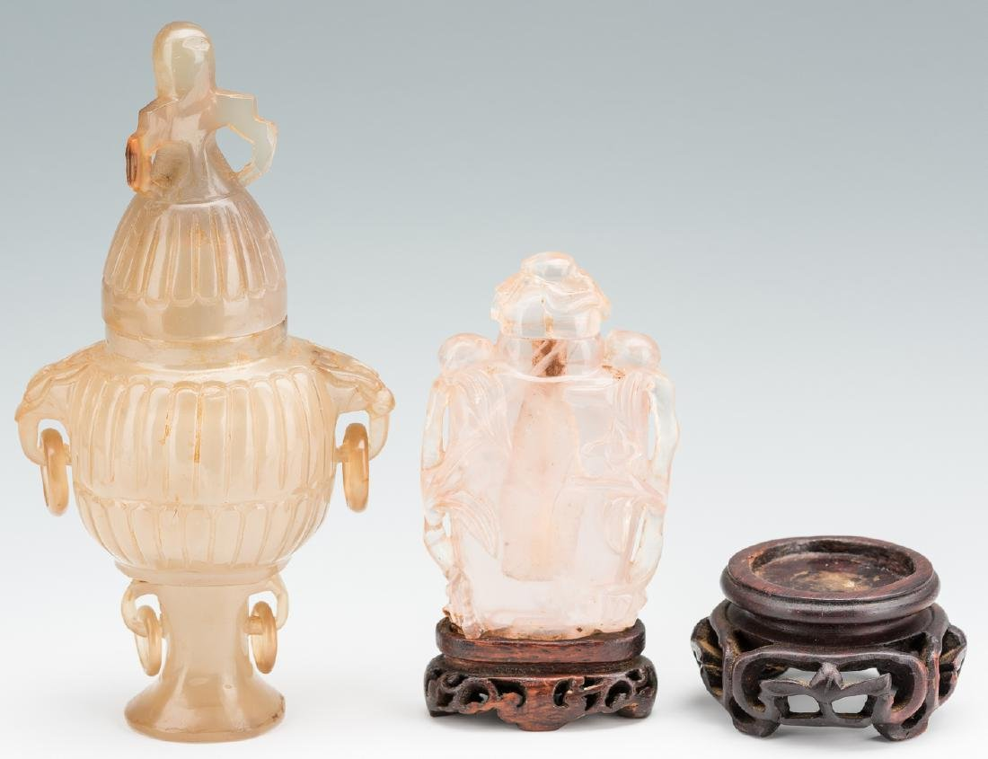 2 Carved Chinese Quartz Items, Urn & Bottle - 2