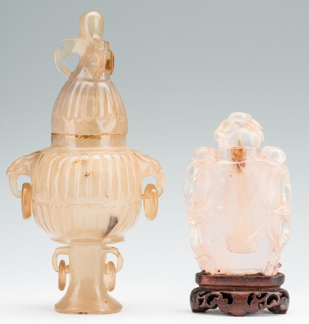 2 Carved Chinese Quartz Items, Urn & Bottle - 4