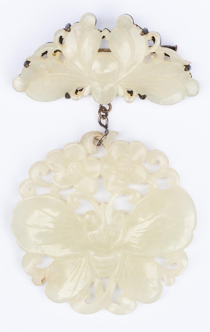 White Jade Brooch: Bee and Butterfly