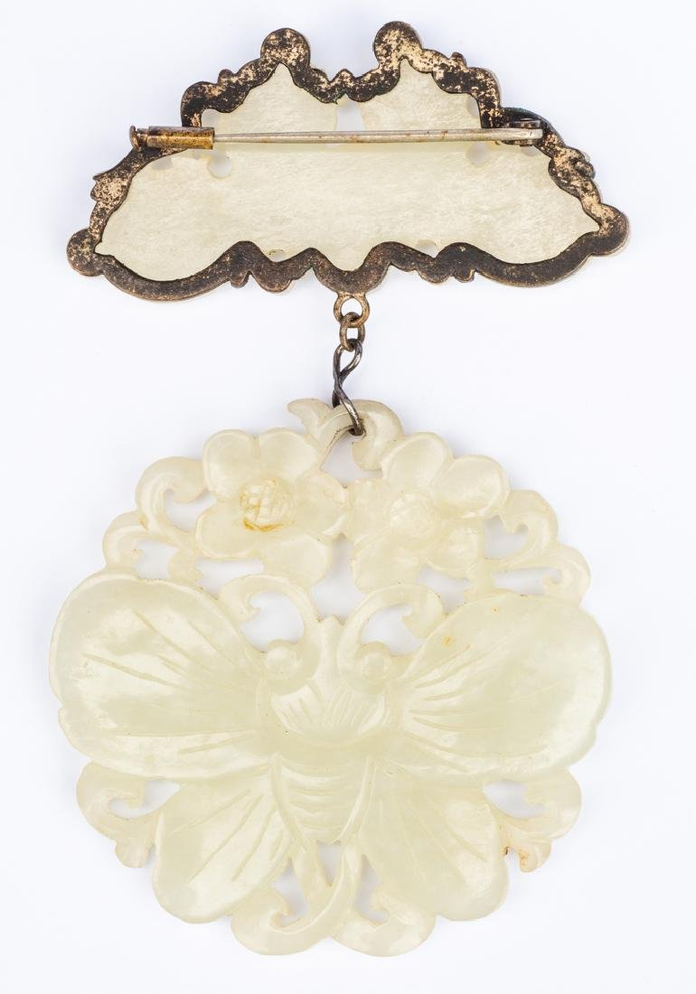White Jade Brooch: Bee and Butterfly - 2