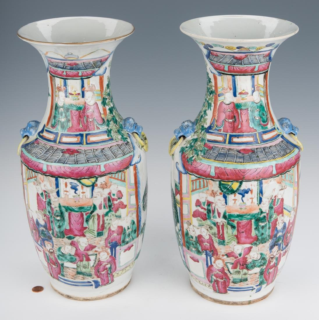 Pair of Qing Famille Rose Vases - 3
