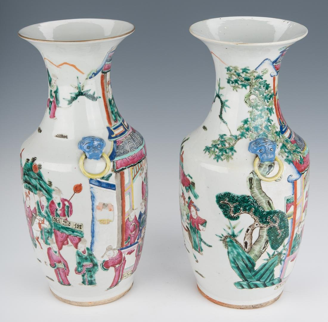Pair of Qing Famille Rose Vases - 4