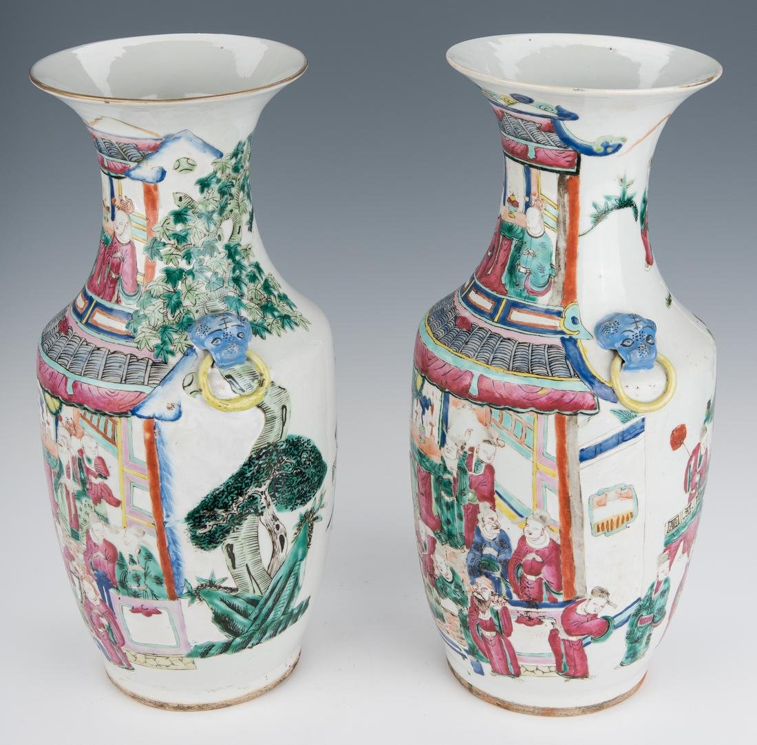 Pair of Qing Famille Rose Vases - 5