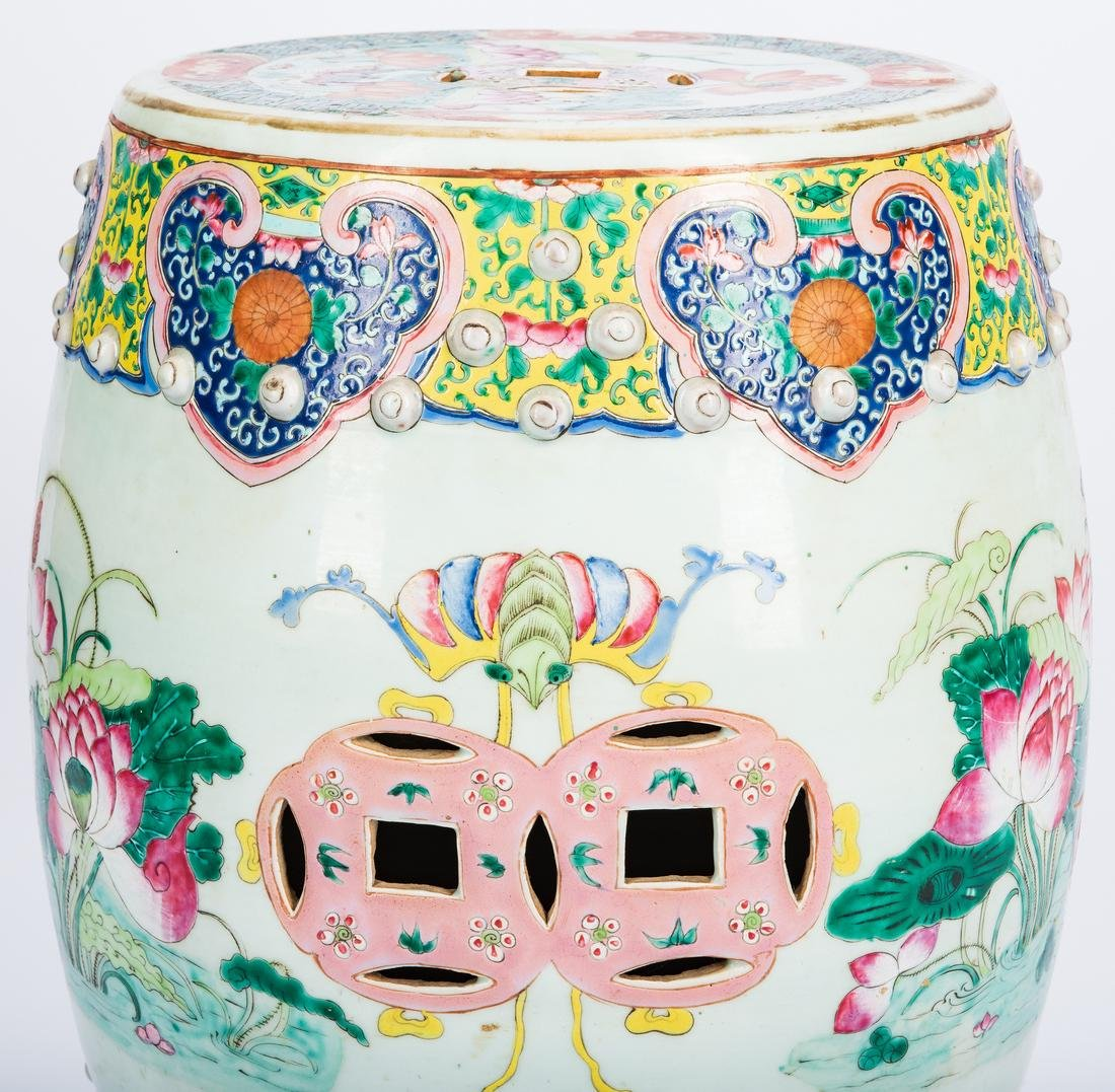 Chinese Qing Famille Rose Porcelain Garden Seat - 9