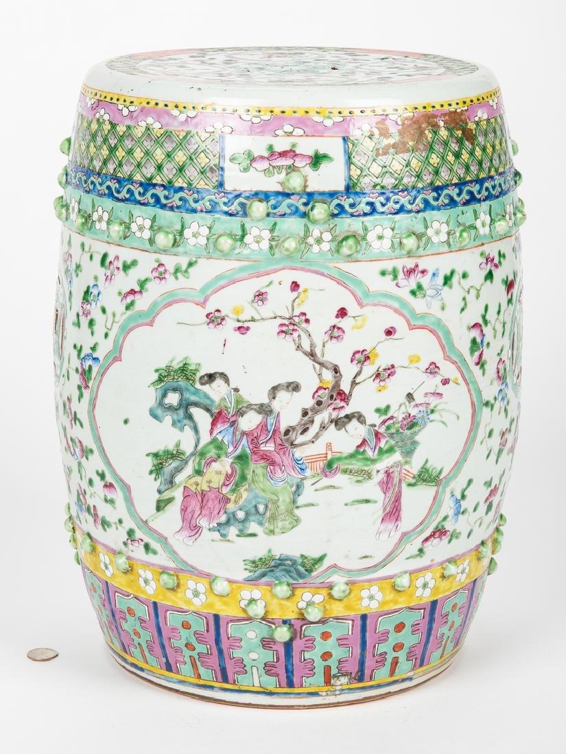 Chinese Famille Rose Porcelain Garden Seat - 2