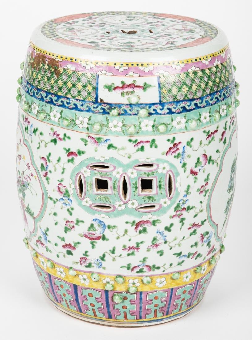 Chinese Famille Rose Porcelain Garden Seat - 3