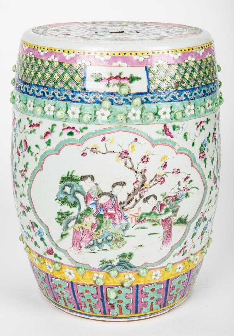 Chinese Famille Rose Porcelain Garden Seat - 4