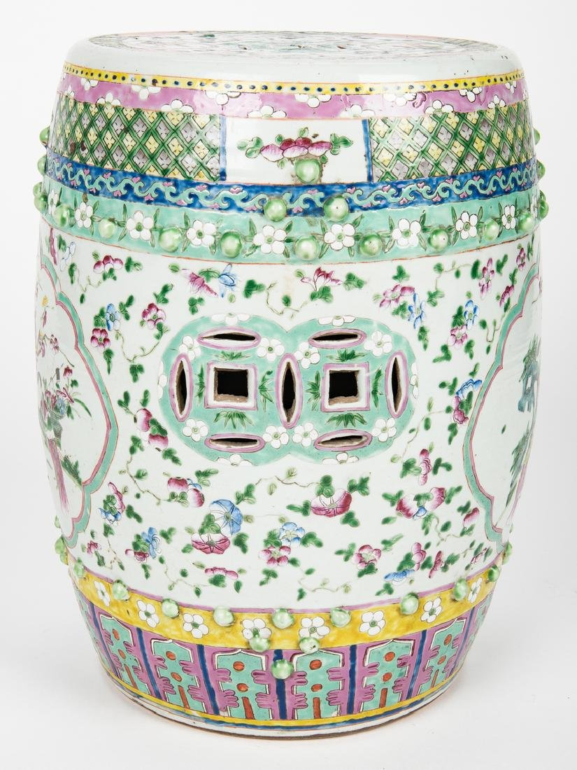 Chinese Famille Rose Porcelain Garden Seat - 5