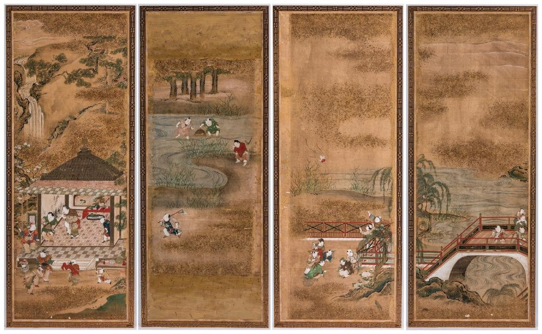4 Chinese Watercolor on Silk Panels