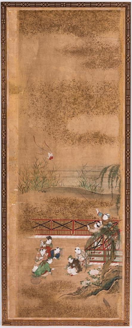 4 Chinese Watercolor on Silk Panels - 4