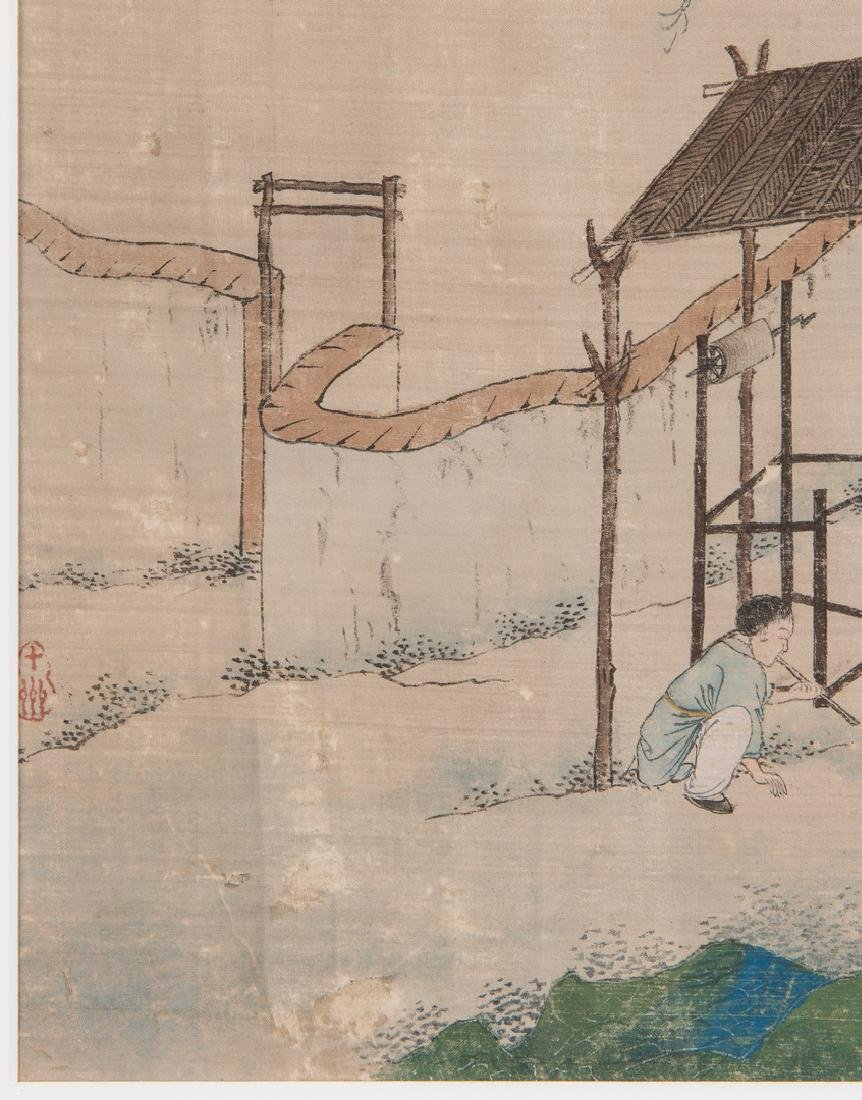 5 Qing Painted Landscapes on silk - 10