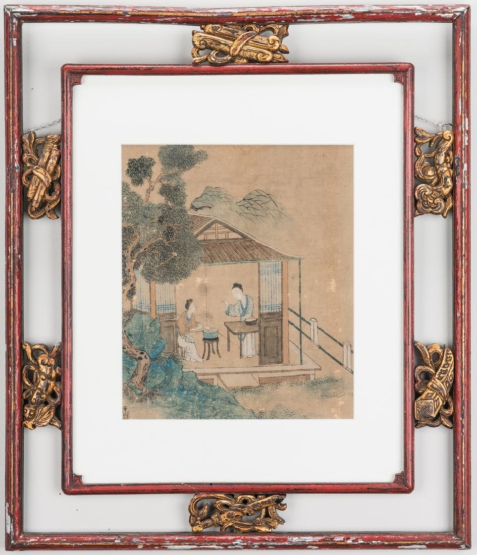 5 Qing Painted Landscapes on silk - 2