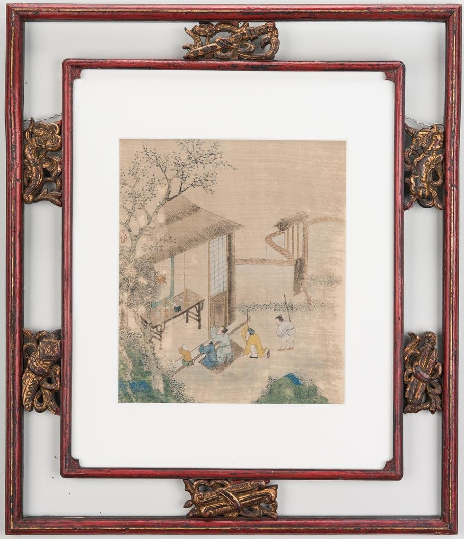 5 Qing Painted Landscapes on silk - 3