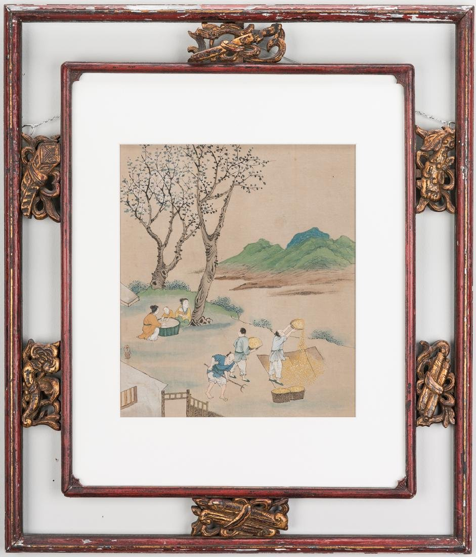 5 Qing Painted Landscapes on silk - 4