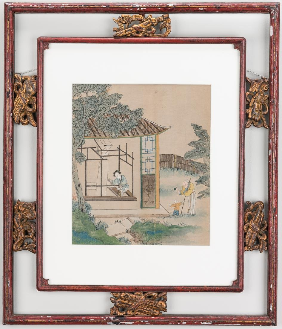 5 Qing Painted Landscapes on silk - 5