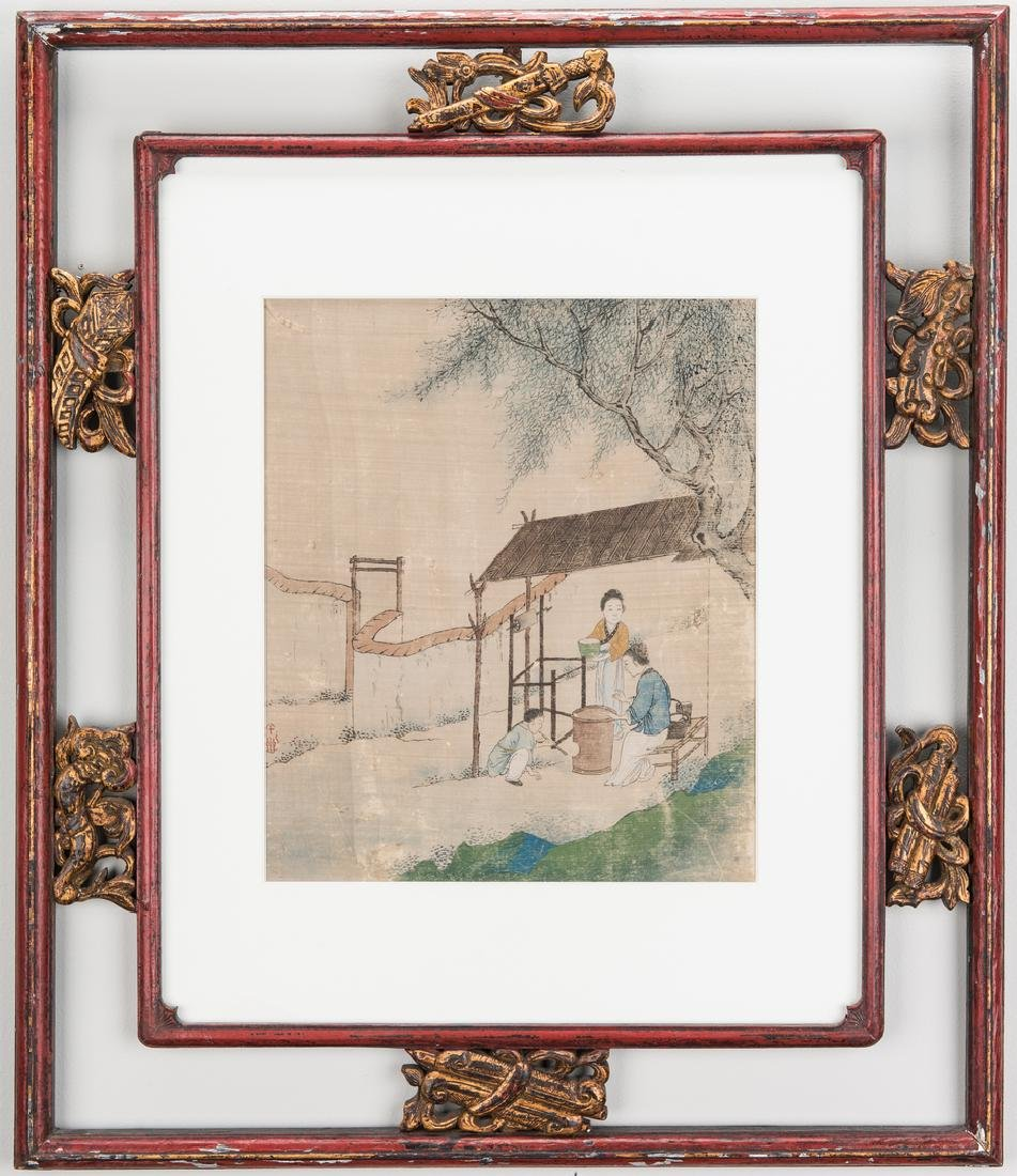 5 Qing Painted Landscapes on silk - 6