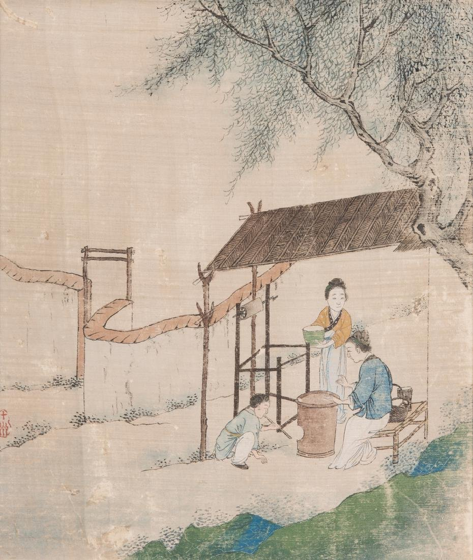 5 Qing Painted Landscapes on silk - 7