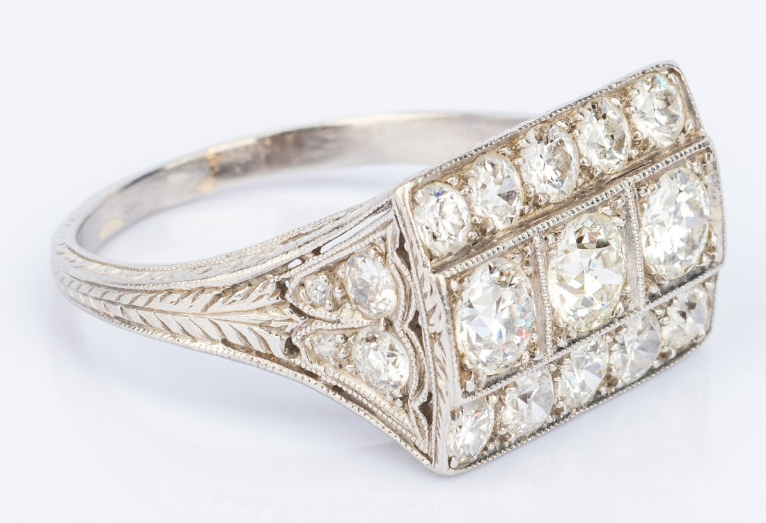 Art Deco Platinum Diamond Ring - 3