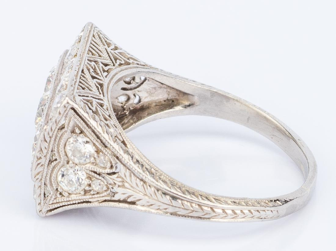 Art Deco Platinum Diamond Ring - 4