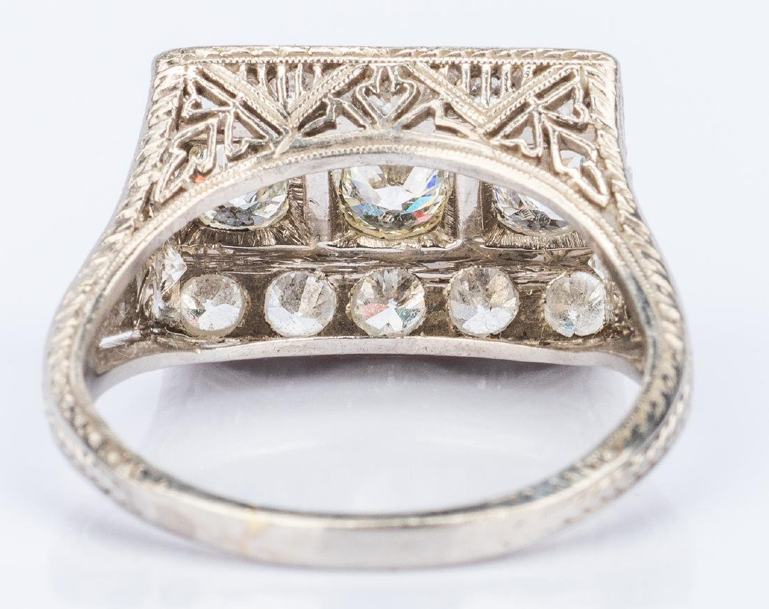 Art Deco Platinum Diamond Ring - 5