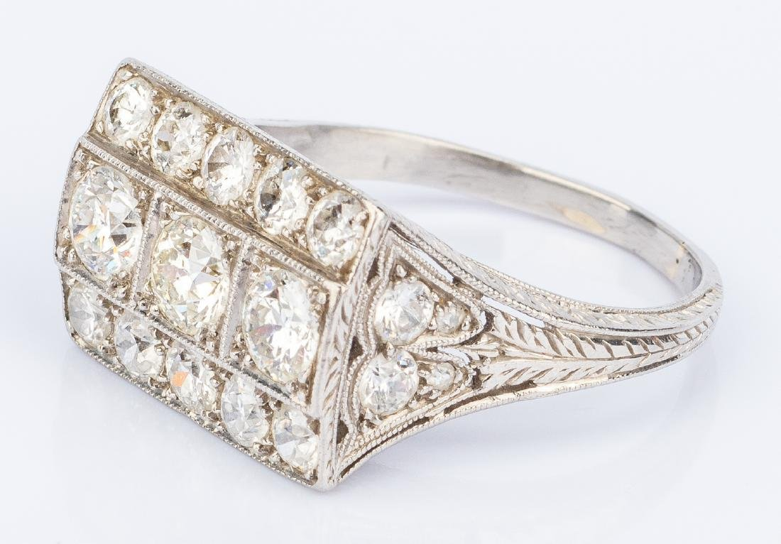 Art Deco Platinum Diamond Ring - 7