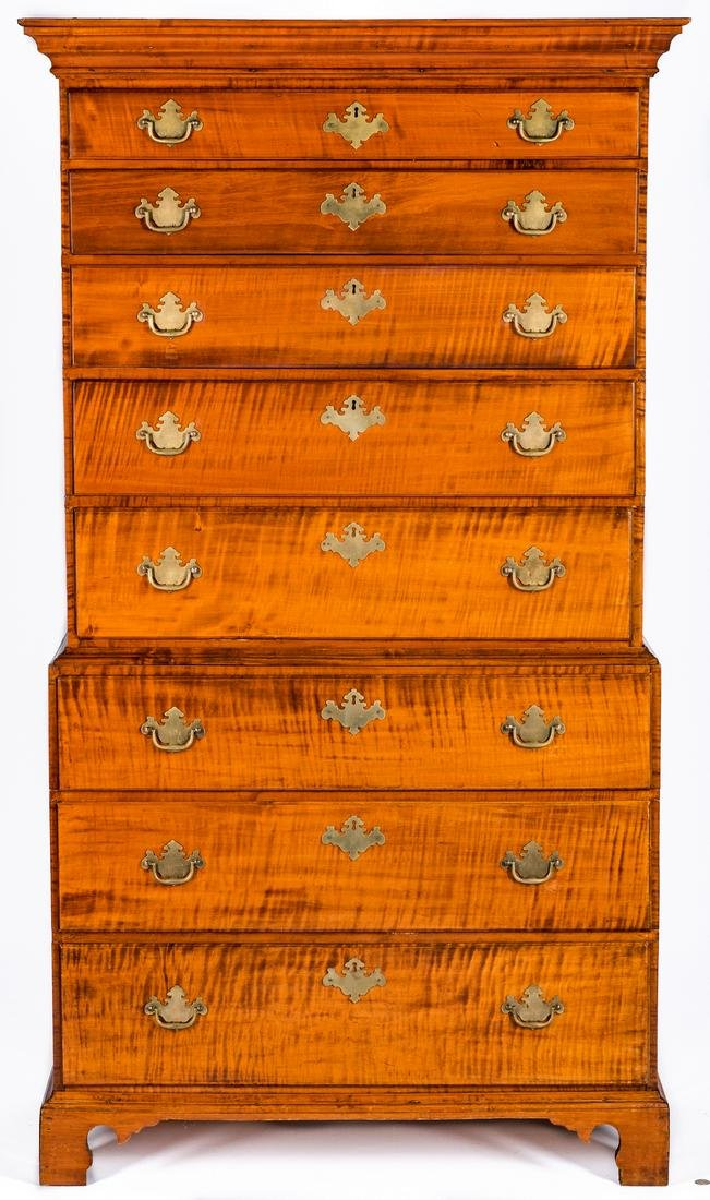 Tiger Maple Chest on Chest, NH Provenance