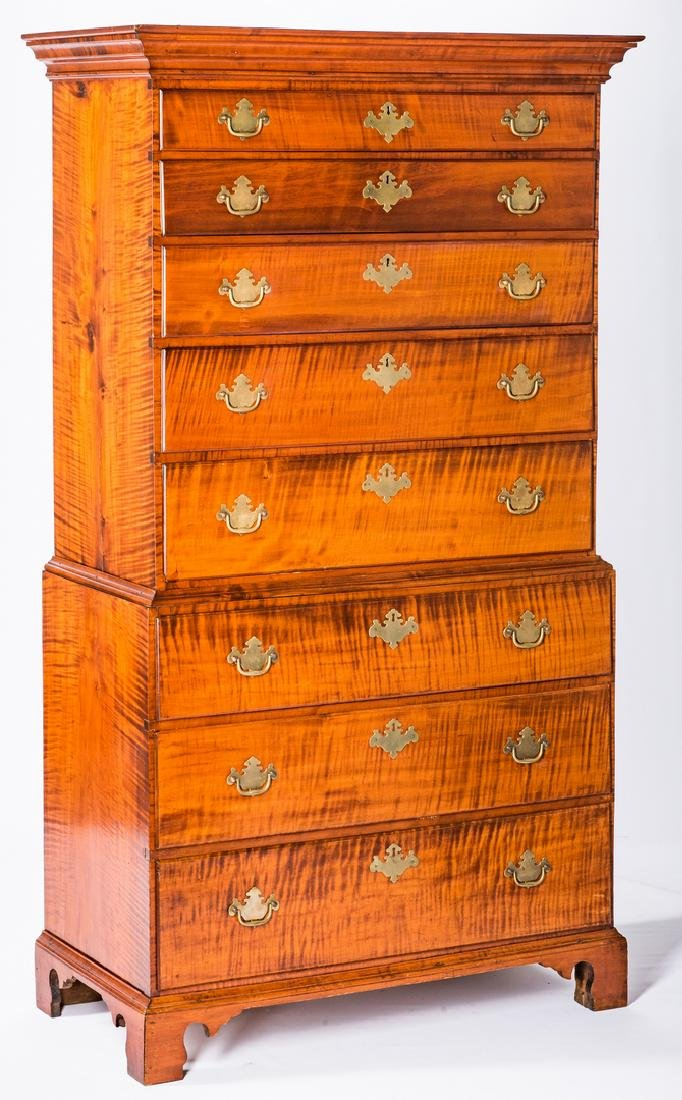 Tiger Maple Chest on Chest, NH Provenance - 2