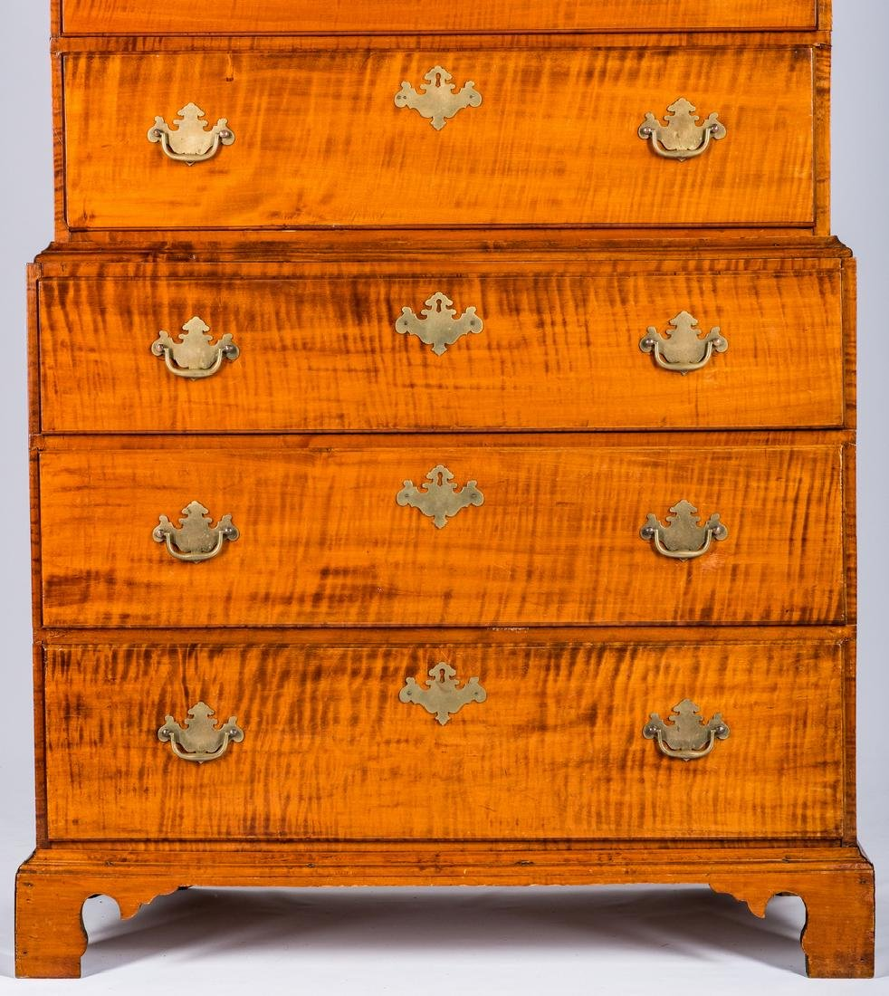 Tiger Maple Chest on Chest, NH Provenance - 4