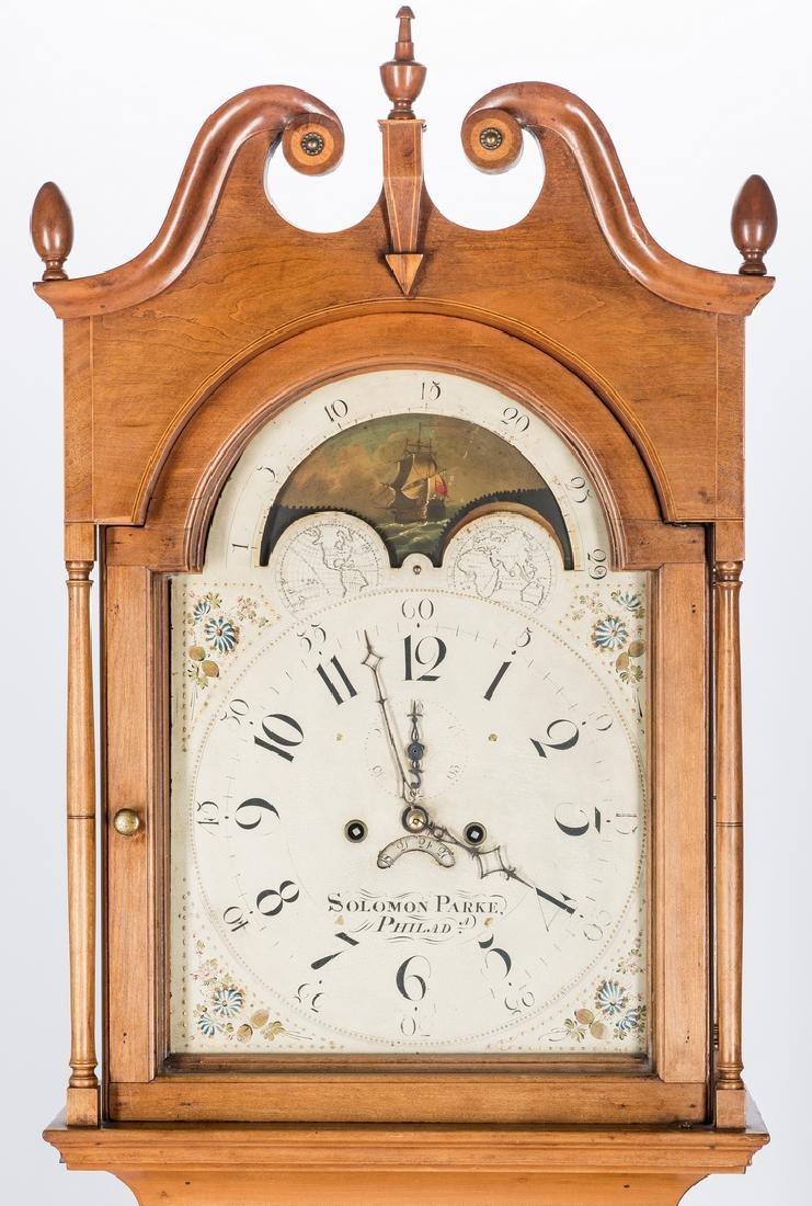 Soloman Parke Federal Inlaid Tall Clock - 3