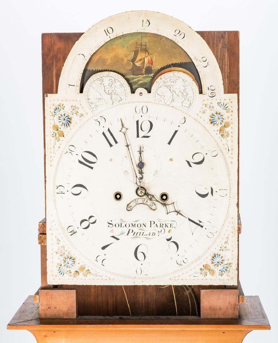 Soloman Parke Federal Inlaid Tall Clock - 9