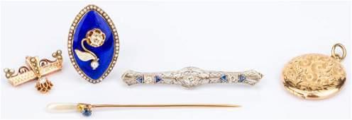 5 Jewelry items inc dia enamel ring