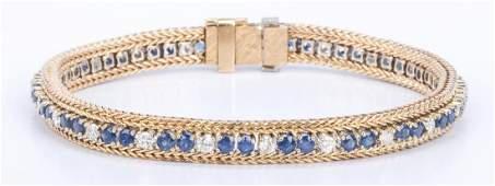 14K Sapphire  Diamond Line Bracelet