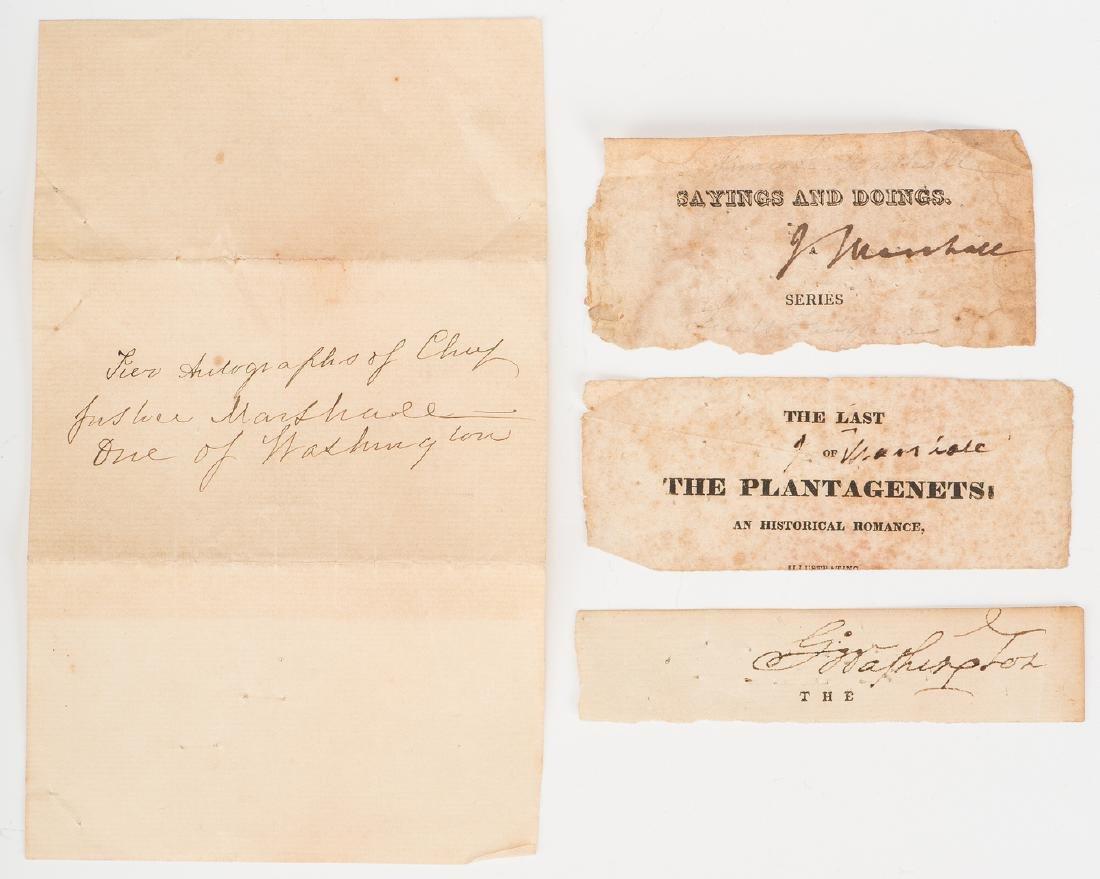 1 George Washington & 2 John Marshall Cut Signatures,