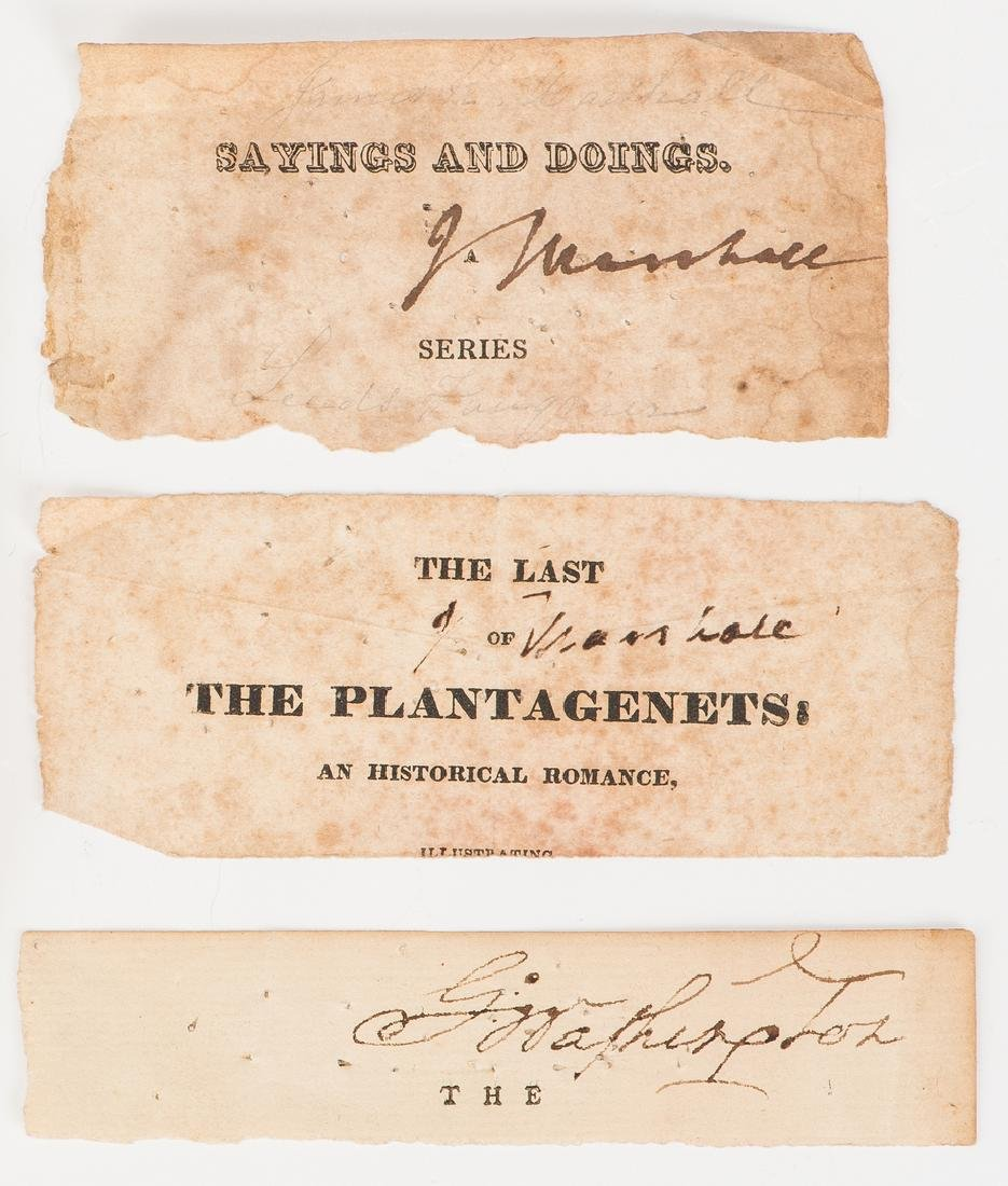 1 George Washington & 2 John Marshall Cut Signatures, - 2