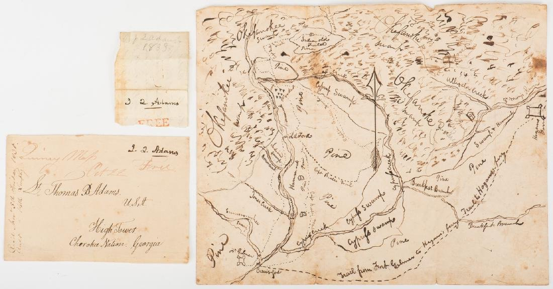 Okefenokee Map & J. Q. Adams Signed Free Franked