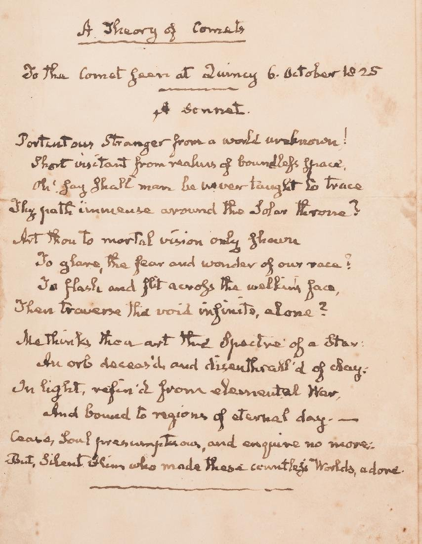 John Q. Adams Handwritten Poem in Album