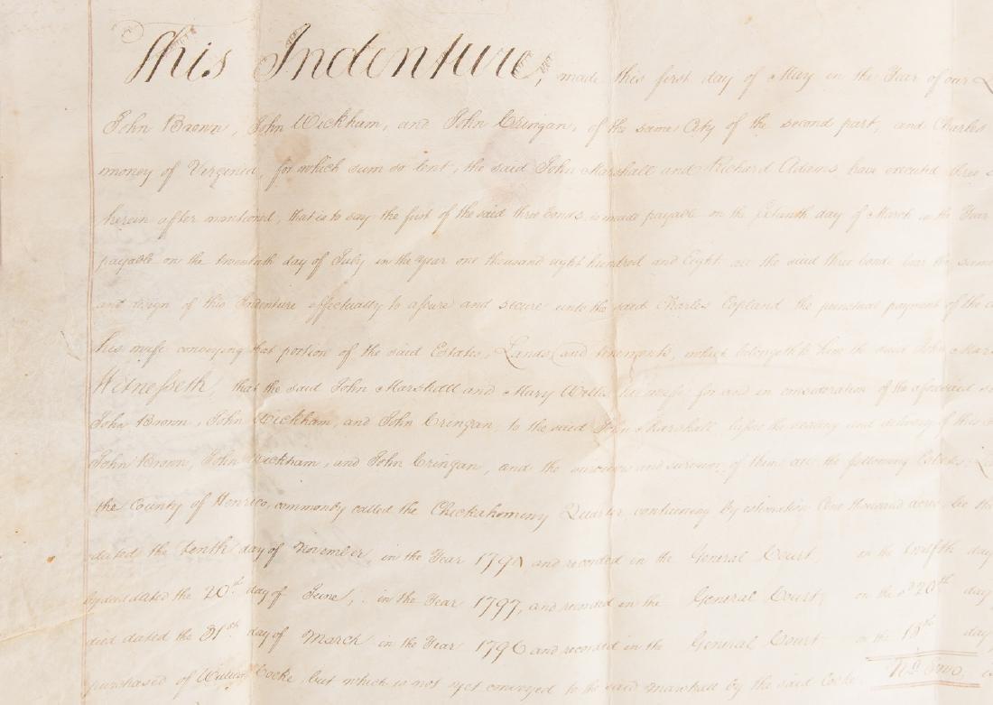 J. Marshall, R. Adams, J. Wickham Indenture, 1803 - 5