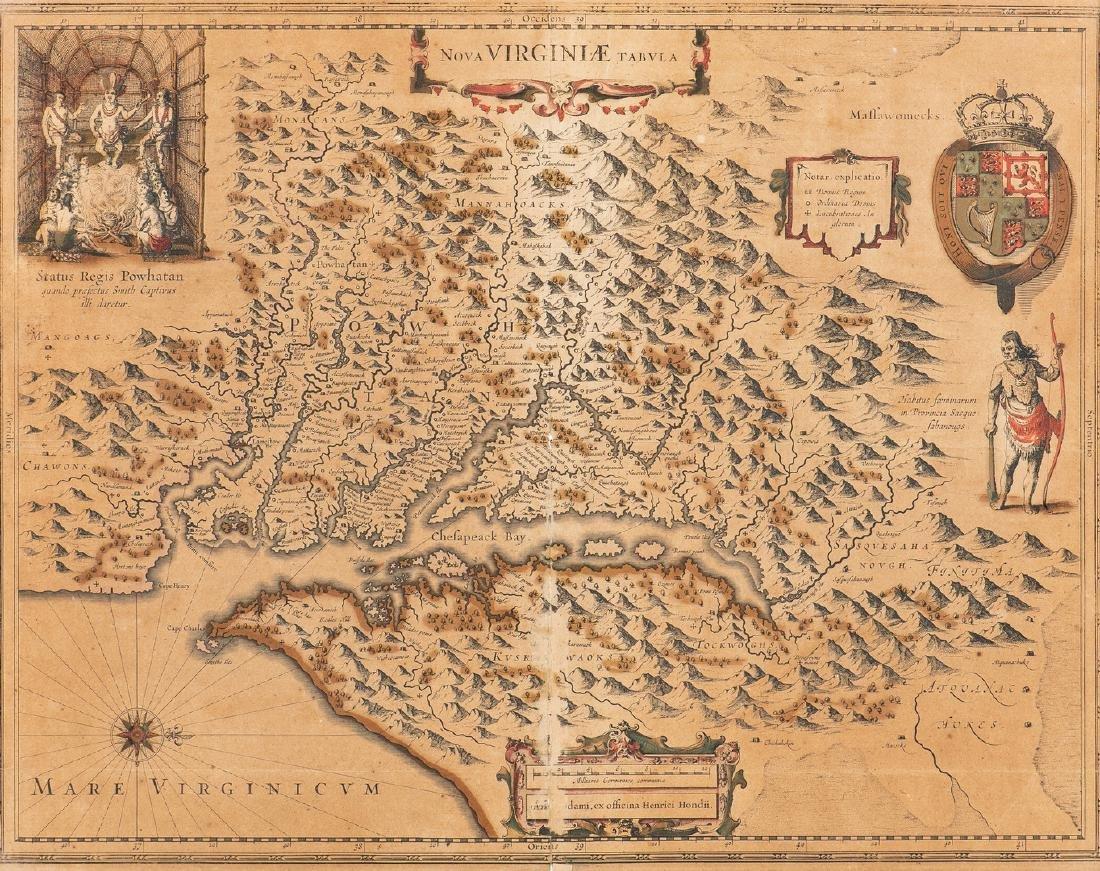 Hondius Map of VA - Nova Virginiae Tabula, 1636-1641