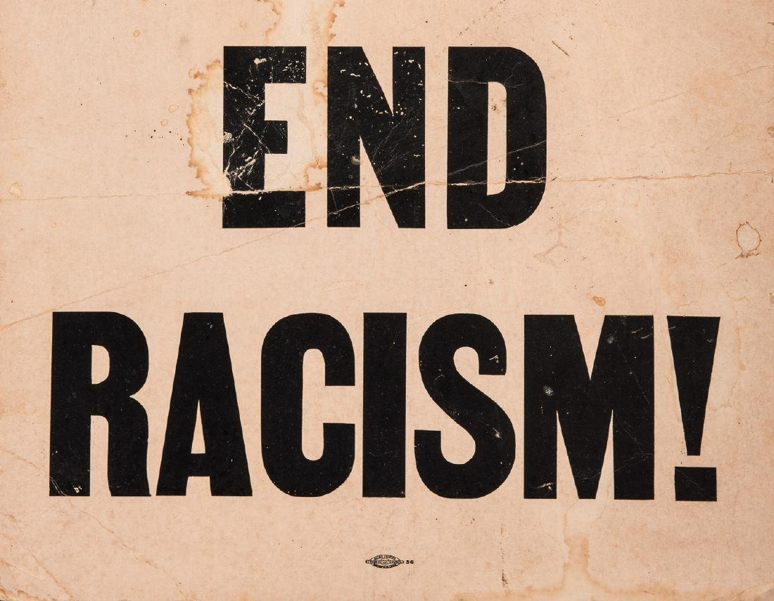 Civil Rights Era Sign: Honor King - End Racism - 3