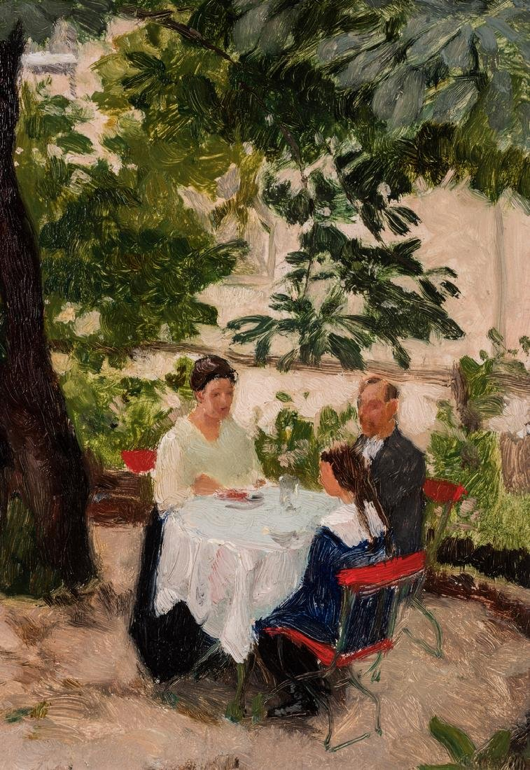 Franz Windhager oil, Dining on a Terrace - 3