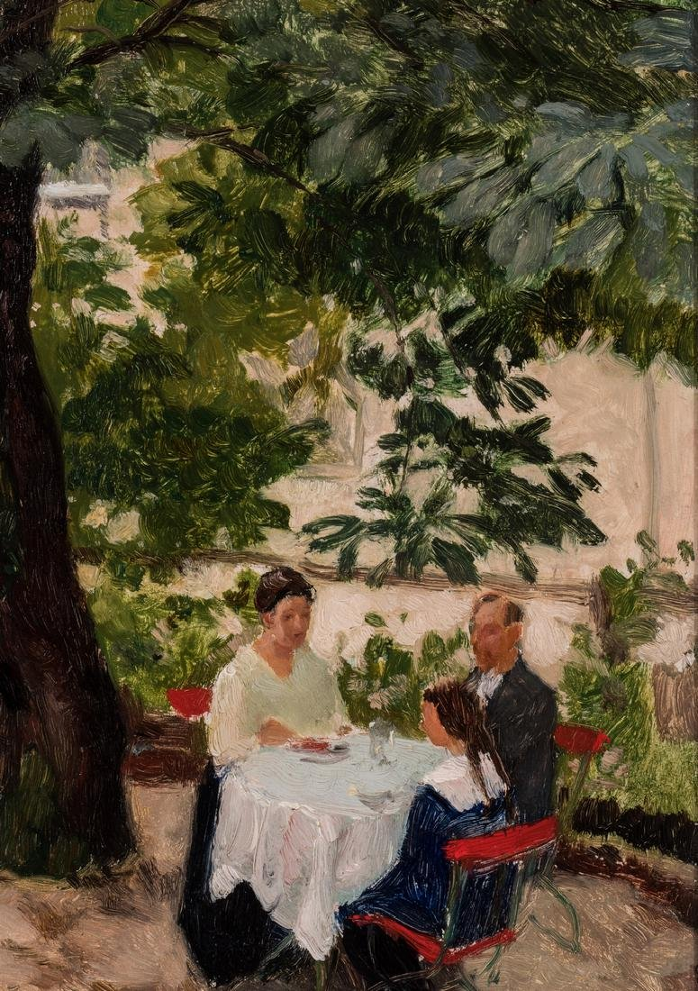 Franz Windhager oil, Dining on a Terrace - 8