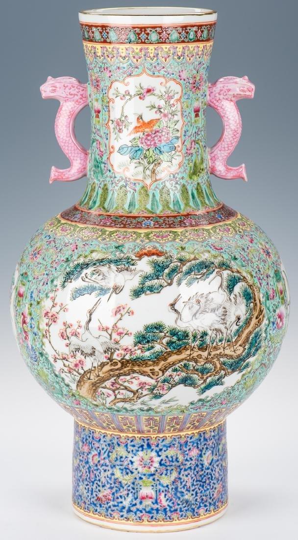 Large Chinese Porcelain Famille Rose Vase w/ Fish - 3