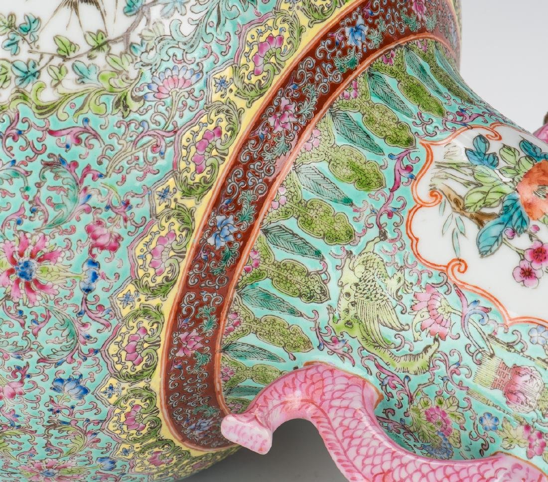 Large Chinese Porcelain Famille Rose Vase w/ Fish - 6