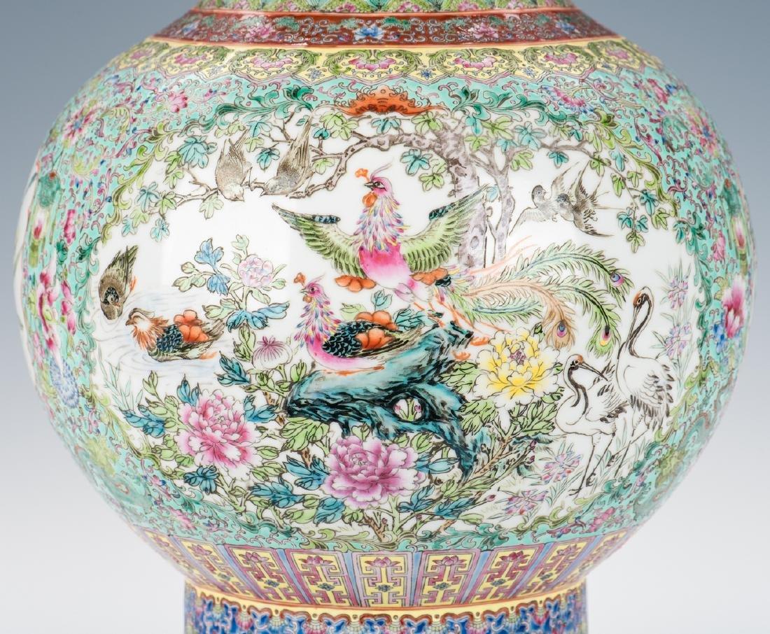 Large Chinese Porcelain Famille Rose Vase w/ Fish - 9