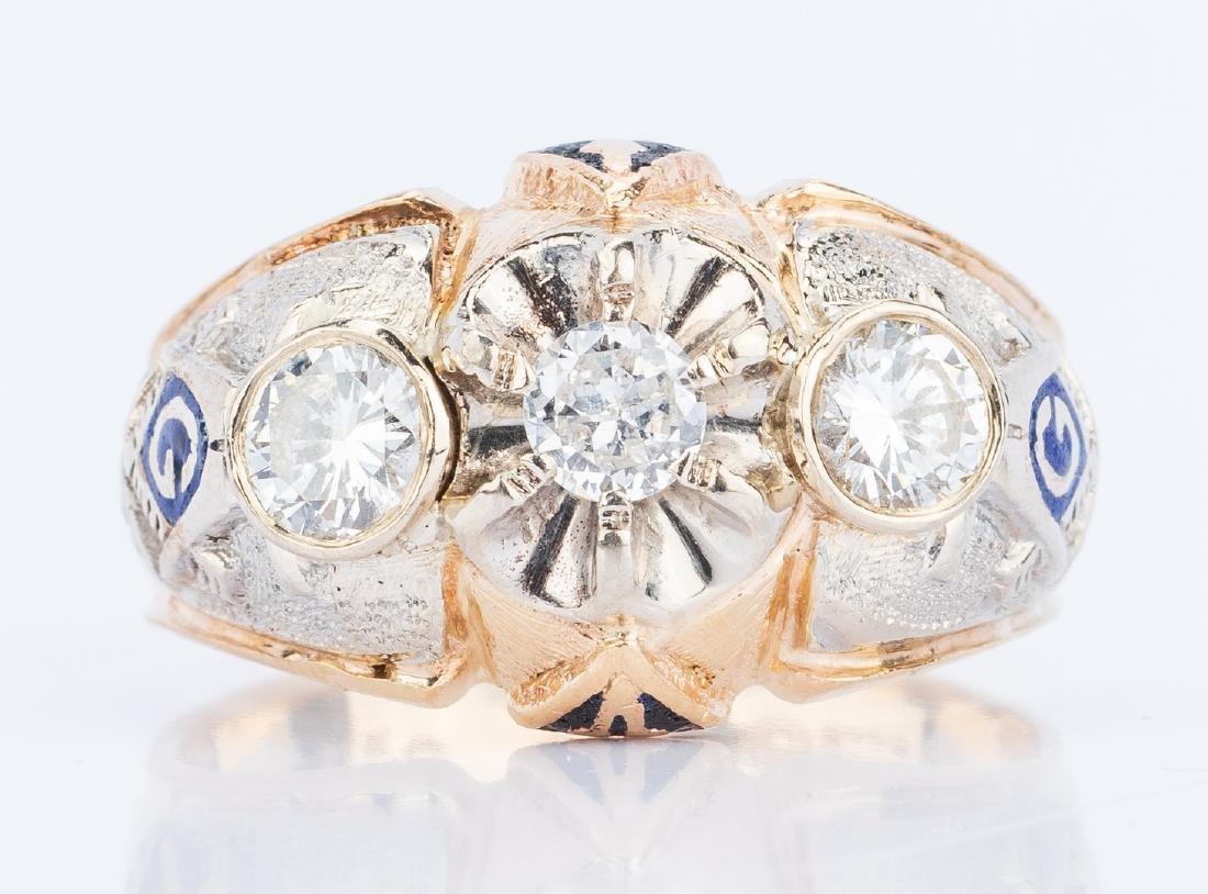 14K Diamond Blue Lodge Masonic Ring