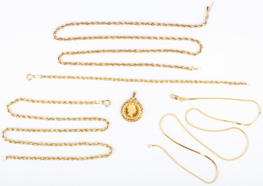 4 items of 14K Gold Jewelry plus Coin (5 pcs total)