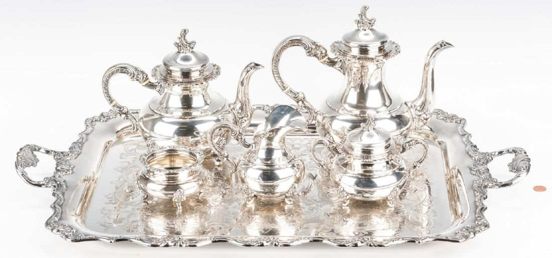 German 5-pc. Sterling Coffee and Tea Set w/SP tray