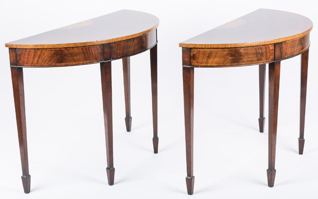 Pair of Georgian style Demilune Tables - 14